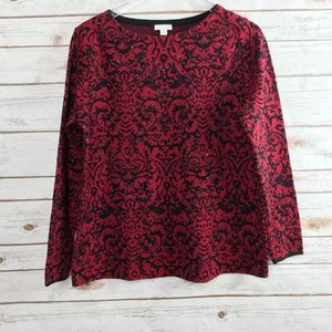 Talbots red black damask rhinestone sweater medium